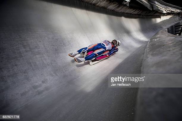 Marek Solcansky and Karol Stuchlak of Slovakia compete in the first heat of the Men's Double Luge competition during the second day of the FILWorld...