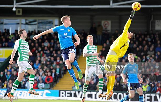 Marek Stech of Yeovil Town is unable to stop Stephen Warnock's winning goal during the Sky Bet Championship match between Yeovil Town and Leeds...