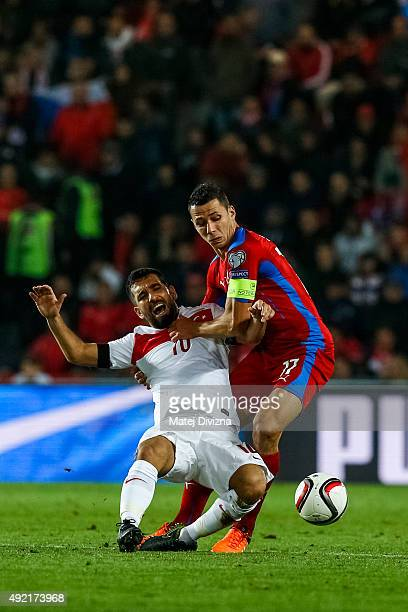 Marek Suchy of Czech Republic battles for the ball with Arda Turan of Turkey during the UEFA EURO 2016 Group A Qualifier match between Czech Republic...