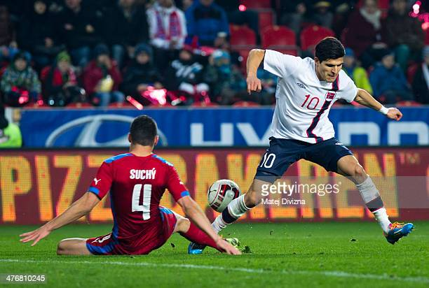 Marek Suchy of Czech Republic fights for the ball with Tarik Elyounoussi of Norway during the international friendly match between Czech Republic and...