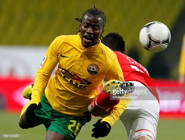 Marek Suchy of FC Spartak Moscow battles for the ball with Ibrahima Balde of FC Kuban Krasnodar during the Russian Premier League match between FC...