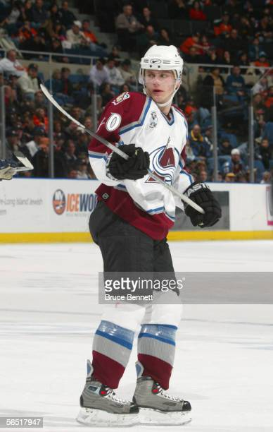 Marek Svatos of the Colorado Avalanche skates during the game against the New York Islanders at the Nassau Coliseum on December 17, 2005 in...