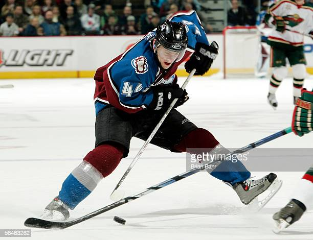 Marek Svatos of the Colorado Avalanche slows up as he heads for the goal against the Minnesota Wild in the third period on December 22 2005 at the...
