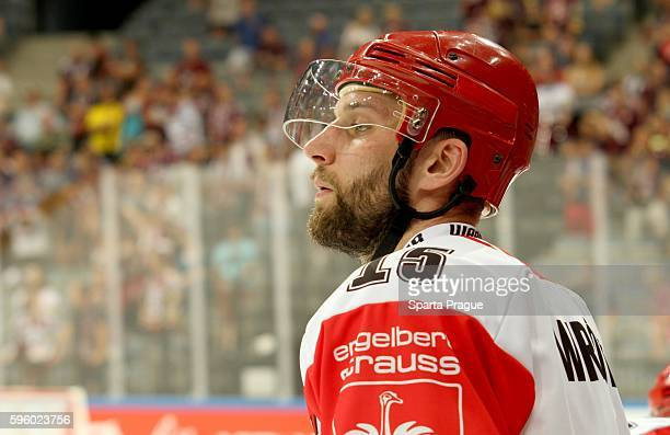 Marek Wrobel of Comarch Cracovia during the Champions Hockey League match between Sparta Prague and Comarch Cracovia at o2 Arena Prague on August 26,...