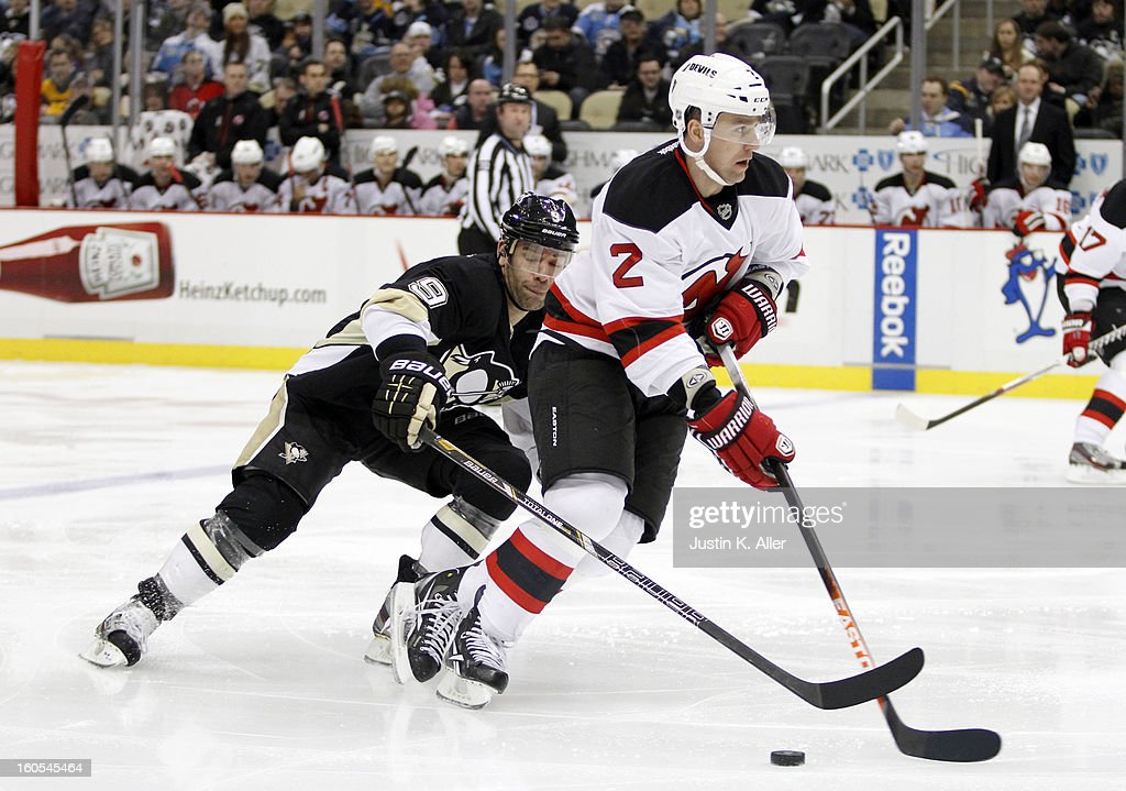Marek Zidlicky #2 of the New Jersey Devils handles the puck against the Pittsburgh Penguins during the game at Consol Energy Center on February 2, 2013 in Pittsburgh, Pennsylvania.
