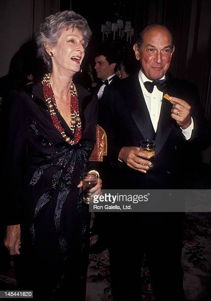 Marella Agnelli and Oscar de la Renta attend Top Dog Benefit Gala for Animal Medical Center on November 13, 1991 at the Pierre Hotel in New York City.