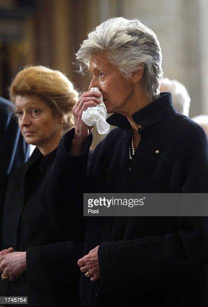 Marella Agnelli the wife of Fiat honorary chairman Giovanni Agnelli and their daughter Margherita Agnelli attend Agnelli's funeral ceremony inside...