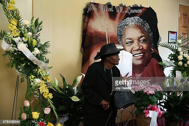 Marelyn Rivers 92 years old arrives to attend the funeral for Ethel Lance at Royal Missionary Baptist Church who was one of nine victims of a mass...