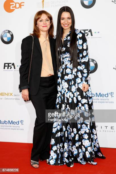 Maren Ade and Anne Zohra Berrached during the Lola - German Film Award red carpet arrivals at Messe Berlin on April 28, 2017 in Berlin, Germany.
