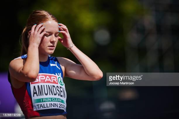 Maren Bakke Amundsen of Norway competes in the Women's 100m Round 1 heats during European Athletics U20 Championships Day 1 at Kadriorg Stadium on...