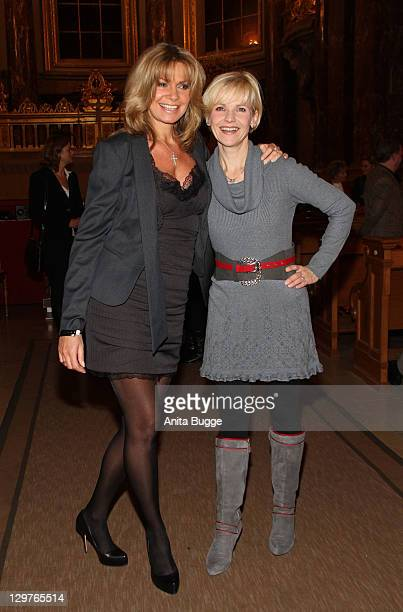 Maren Gilzer and AndreaKathrin Loewig attend the Everyman premiere at the Dome Berlin on October 20 2011 in Berlin Germany