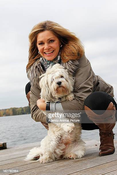 Maren Gilzer and her dog Tinka on October 28, 2010 in Berlin, Germany.