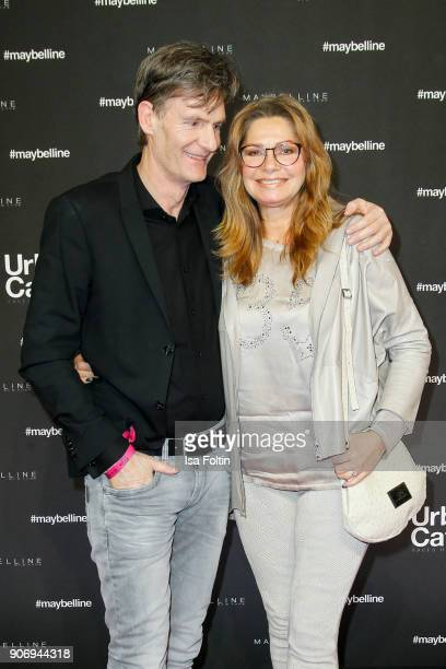 Maren Gilzer and her partner Harry Kuhlmann during the Maybelline Show 'Urban Catwalk - Faces of New York' at Vollgutlager on January 18, 2018 in...