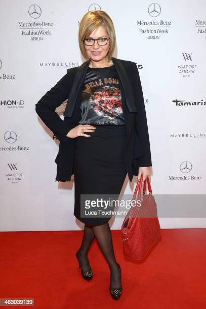 Maren Gilzer attends the Vladimir Karaleev show during Mercedes-Benz Fashion Week Autumn/Winter 2014/15 at Brandenburg Gate on January 16, 2014 in...