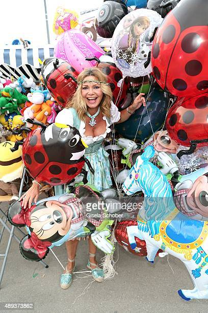 Maren Gilzer wearing a dirndl by SchmittundSchaefer during the Oktoberfest 2015 at Theresienwiese on September 20, 2015 in Munich, Germany.