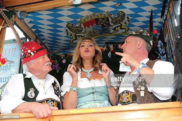 Maren Gilzer with the 'Vogelpfeifer' and wearing a dirndl by SchmittundSchaefer during the Oktoberfest 2015 at Theresienwiese on September 20, 2015...
