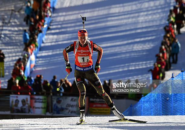 Maren Hammerschmidt Germany competes during the Biathlon World Cup Women's 4x6 km relay race in Anterselva on January 22 2017 Germany won the race...