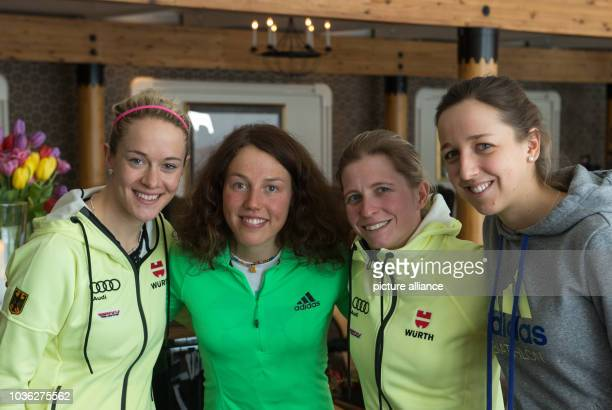 Maren Hammerschmidt Laura Dahlmeier Franziska Hildebrand and Franziska Preuss of Germany smile in the team hotel at the Biathlon World Championships...