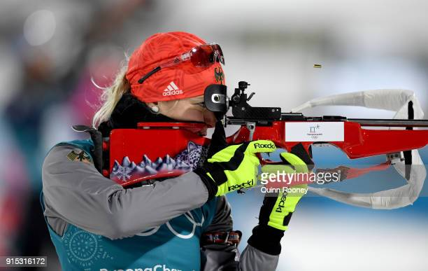 Maren Hammerschmidt of Germany in action during Biathlon Women's 75km Sprint Official Training ahead of the PyeongChang 2018 Winter Olympic Games at...