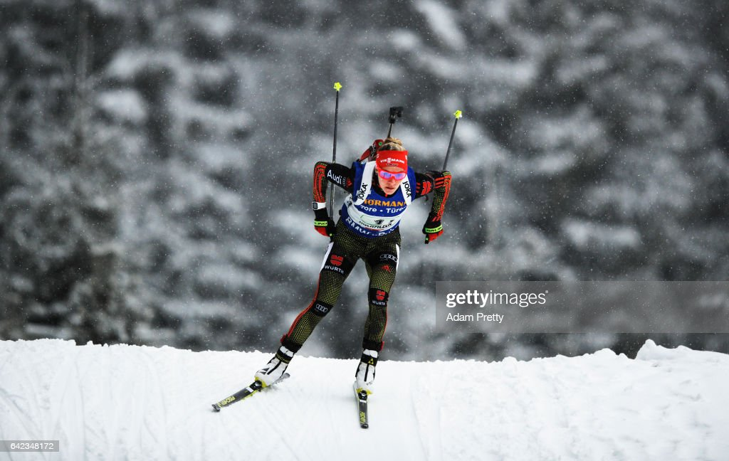Maren Hammerschmidt of Germany on her way to victory in the Women's 4x 6km relay competition of the IBU World Championships Biathlon 2017 at the Biathlon Stadium Hochfilzen on February 17, 2017 in Hochfilzen, Austria.