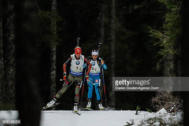 Maren Hammerschmidt of Germany takes 1st place during the IBU Biathlon World Cup Men's and Women's Relay on December 11 2016 in Pokljuka Slovenia