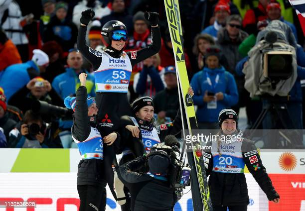 Maren Lundby of Norway celebrates after the final round of the HS109 women's ski jumping Competition of the FIS Nordic World Ski Championships at...