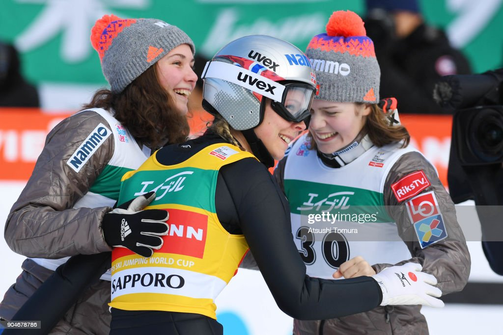Maren Lundby of Norway celebrates after winning in the Ladies normal hill individual during day two of the FIS Ski Jumping Women's World cup at Miyanomori Ski Jump Stadium on January 14, 2018 in Sapporo, Hokkaido, Japan.