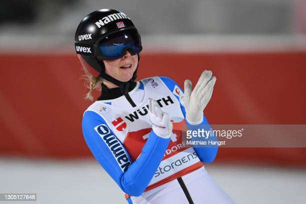 Maren Lundby of Norway celebrates after winning the Women's Ski Jumping HS137 competition at the FIS Nordic World Ski Championships Oberstdorf on...