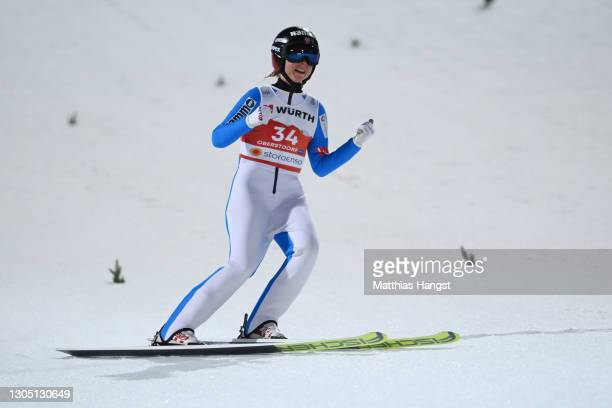 Maren Lundby of Norway celebrates winning of the Women's Ski Jumping HS137 competition at the FIS Nordic World Ski Championships Oberstdorf on March...