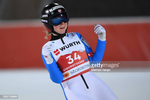 Maren Lundby of Norway celebrates winning the Women's Ski Jumping HS137 competition at the FIS Nordic World Ski Championships Oberstdorf on March 03,...