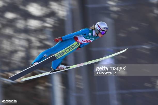 Maren Lundby of Norway competes during the first round of the Normal Hill Individual event of the FIS Ski Jumping World Cup in Pyeongchang on...