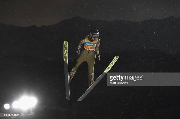 Maren Lundby of Norway competes during the offical training on day one of the FIS Ski Jumping Women's World cup Zao at Kuraray Zao Schanze on January...