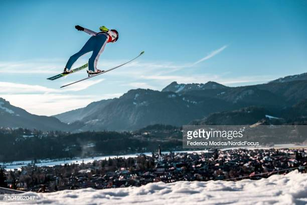 Maren Lundby of Norway competes during the Women's Ski Jumping HS137 Q at the FIS Nordic World Ski Championships Oberstdorf at on March 2, 2021 in...