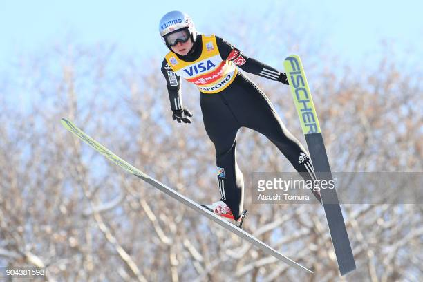 Maren Lundby of Norway competes in the Ladies normal hill individual during day one of the FIS Ski Jumping Women's World cup at Miyanomori Ski Jump...