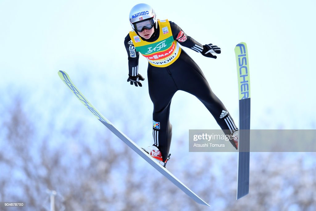 Maren Lundby of Norway competes in the Ladies normal hill individual during day two of the FIS Ski Jumping Women's World cup at Miyanomori Ski Jump Stadium on January 14, 2018 in Sapporo, Hokkaido, Japan.