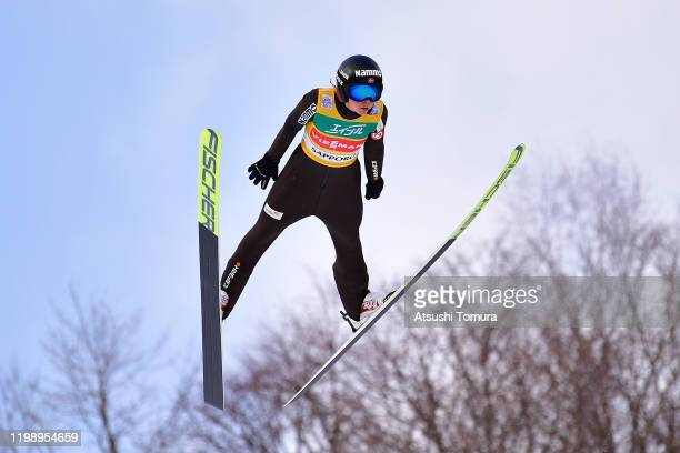 Maren Lundby of Norway competes on day two of the FIS Ski Jumping Women's World Cup Sapporo at Okurayama Jump Stadium on January 12, 2020 in Sapporo,...