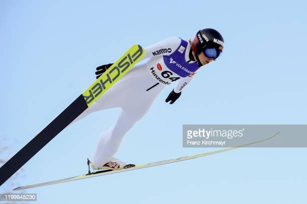Maren Lundby of Norway competes on FIS Ski Jumping Women's World Cup Hinzenbach event at Energie AG Skisprungarena on February 9, 2020 in Eferding,...