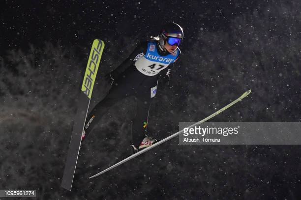 Maren Lundby of Norway in action during day one of the FIS Ski Jumping World Cup Ladies Zao at Kuraray Zao Schanze on January 18, 2019 in Yamagata,...