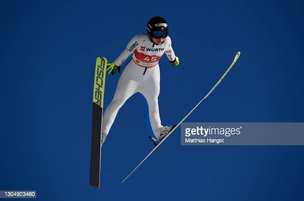 Maren Lundby of Norway jumps during the Women's Ski Jumping HS137 Individual training session at the FIS Nordic World Ski Championships Oberstdorf on...
