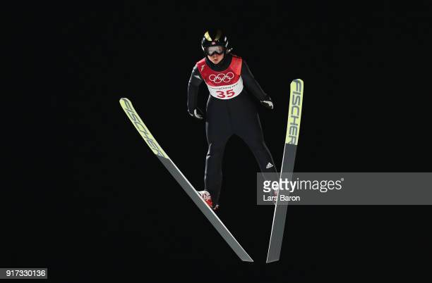 Maren Lundby of Norway makes a jump during the Ladies' Normal Hill Individual Ski Jumping Final on day threpe of the PyeongChang 2018 Winter Olympic...