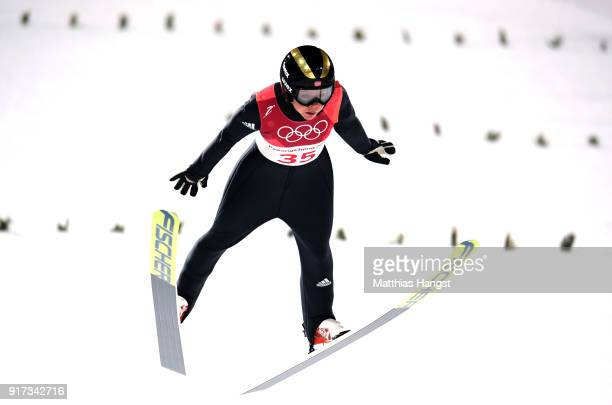 Maren Lundby of Norway makes a jump during the Ladies' Normal Hill Individual Ski Jumping Final on day three of the PyeongChang 2018 Winter Olympic...