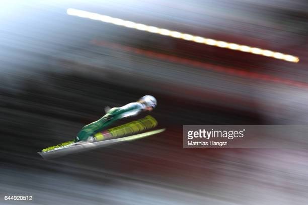 Maren Lundby of Norway makes a practice jump prior to the Women's Ski Jumping HS100 during the FIS Nordic World Ski Championships on February 24,...