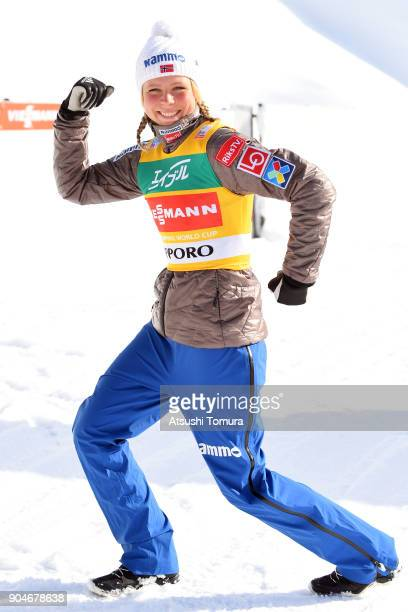 Maren Lundby of Norway poses after winning in the Ladies normal hill individual during day two of the FIS Ski Jumping Women's World cup at Miyanomori...