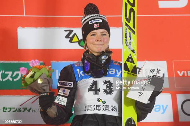 Maren Lundby of Norway poses on the podium during day two of the FIS Ski Jumping World Cup Ladies Zao at Kuraray Zao Schanze on January 20, 2019 in...