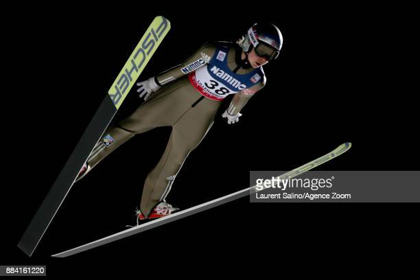 Maren Lundby of Norway takes 1st place during the FIS Nordic World Cup Women's Ski Jumping HS100 on December 1, 2017 in Lillehammer, Norway.