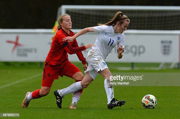 Maren Marie Tellenbroker of Germany tackles Lauren Hemp of England during Women's U16s International Friendly match between England U16s Women and...
