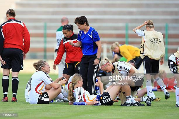 Maren Meinert coach of Germany motivates her team before the penalties shoot out during the Women's U19 European Championship match between Germany...