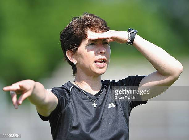 Maren Meinert coach of Germany shouts instructions during the womens U19's international friendly match between Germany and Russia on May 11 2011 in...