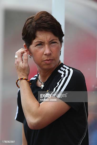 Maren Meinert coach of Germany U19 women during the UEFA Women's U19 Semi Final match between Germany U19 women and France U19 women at Parc y...