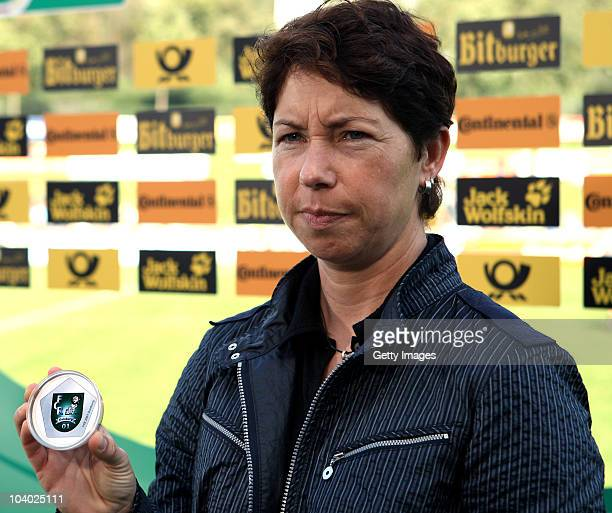 Maren Meinert during the draws of the next round of German cup during the Women's bundesliga match between FCR Duisburg and FFC Frankfurt at the...
